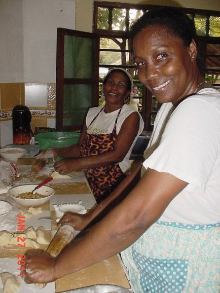 Our wonderful cooks, Yolaida and Loida, making empanadas