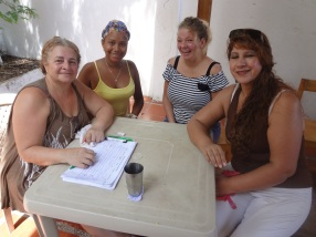 Some of our medical volunteers (Left to Right): Yolanda from Bogota; Neysdulia, a girl who was in our Sponsorship Program for a time and is now a Registered Nurse, she is volunteering at the mission now but we would love to be able to hire her to work at the clinic some day!; Karoline, our Norwegian nurse; and Martha who helps registering patients, is from Bogota but works in Bocachica with her husband with a ministry started by their church in Bogota.
