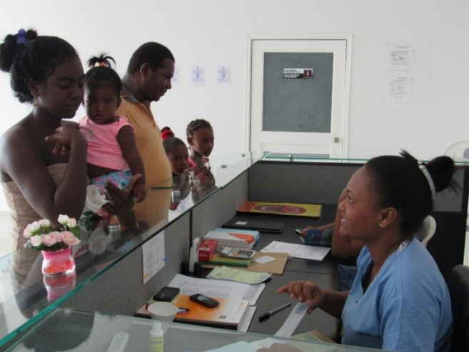 Clinic reception check-in